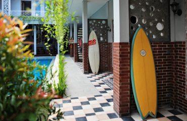 Surfboards at Mojosurf Camp Canggu