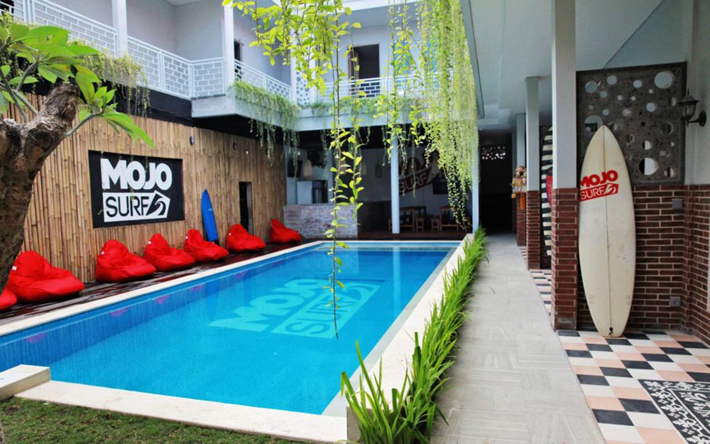 Pool area at Mojosurf Camp Canggu