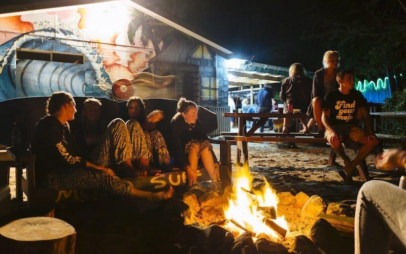 Campfire at Spot X Surf Camp