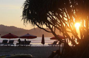 Red Island Beach, sunset in Java