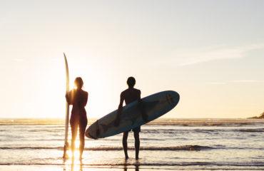 Surfing Sunset Byron Bay